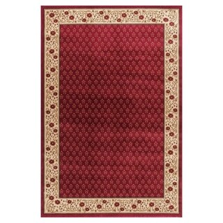 Terrazzo European Floral Border Ombre Gradient Red, Ivory, and Beige Area Rug (7'10 x 9'10) - 7'10 x 9'10