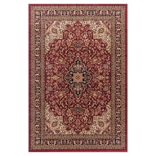 'Medallion Kashan' Red Polypropylene Rug (7'10 x 9'10)