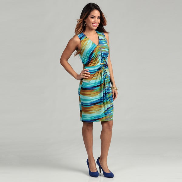Calvin Klein Women's Cinched V-neck Dress FINAL SALE