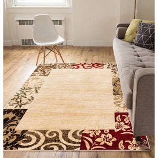 Vane Willow Damask Floral Border Ombre Gradient Beige, Red, Brown, and Ivory Area Rug (5'3 x 7'3)