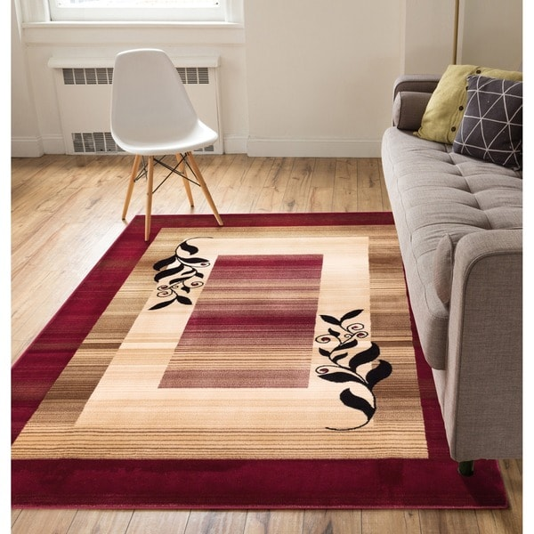 Molly Floral Nature Border Ombre Gradient Red, Beige, and Ivory Area Rug (5'3 x 7'3)