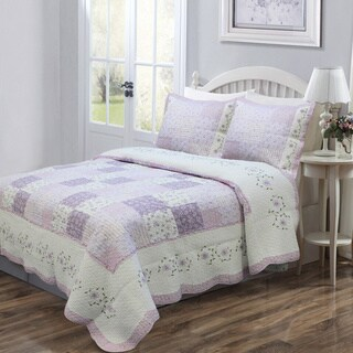 Maison Rouge Penelope Lilac Patckwork Quilt and Sham Set
