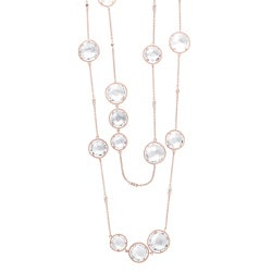 Collette Z Clear Crystal Quartz Round Station 32-inch Necklace