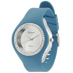 Geneva Platinum Women's Rhinestone-Accented Blue Silicone Watch