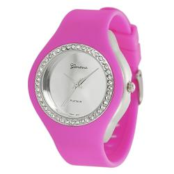 Geneva Platinum Women's Rhinestone-Accented Hot Pink Silicone Watch