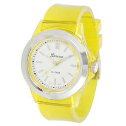 Geneva Platinum Women's Yellow Translucent Watch