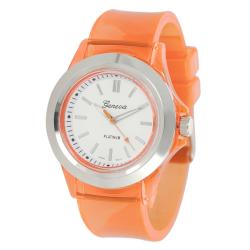 Geneva Platinum Women's Orange Translucent Watch