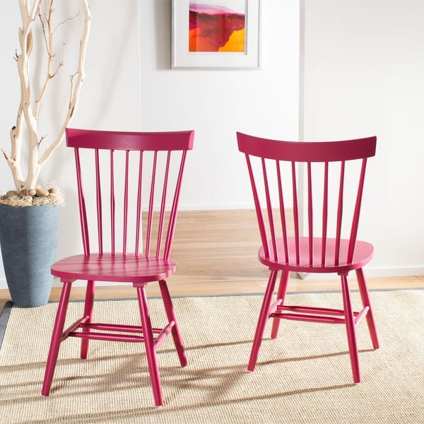 Safavieh Dining Country Lifestyle Spindle Back Raspberry Dining Chairs (Set of 2)