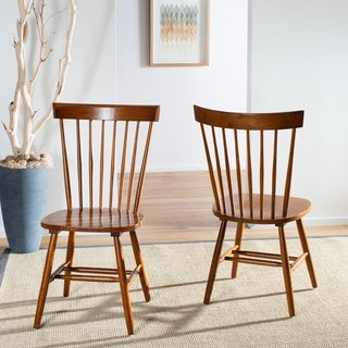 Safavieh Country Classic Dining Country Lifestyle Spindle Back Dark Oak Brown Side Chairs (Set of 2)