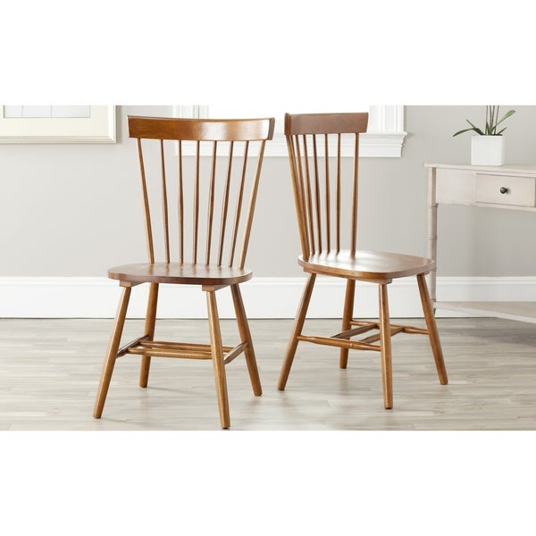 Safavieh Country Classic Dining Country Lifestyle Spindle Back Dark Oak Brown Dining Chairs (Set of 2)
