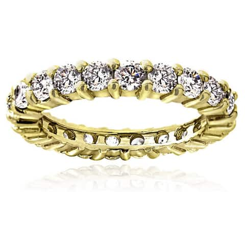 Icz Stonez Sterling Silver Stackable Cubic Zirconia Eternity Band