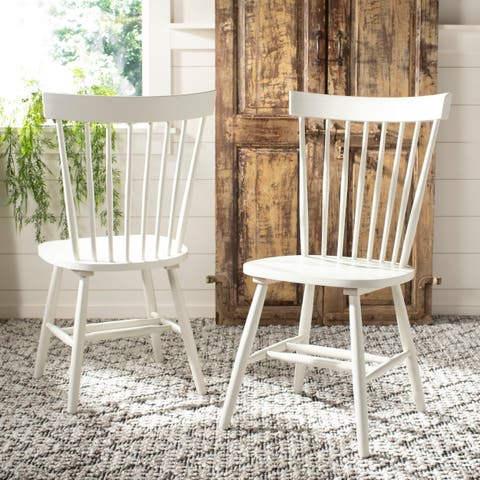 Safavieh Dining Country Lifestyle Spindle Back Off White Dining Chairs (Set of 2)