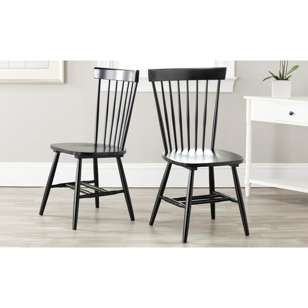 Safavieh Country Classic Dining Country Lifestyle Spindle Back Black Side Chairs (Set of 2)