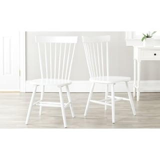 Safavieh Country Classic Dining Country Lifestyle Spindle Back White Dining Chairs (Set of 2)