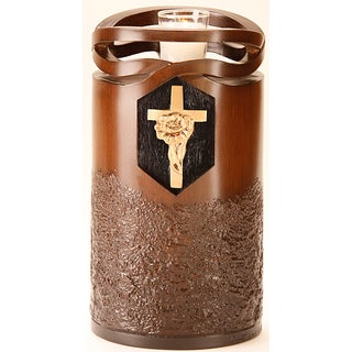 Infinity Wood Finish Adult Urn with Rose Cross
