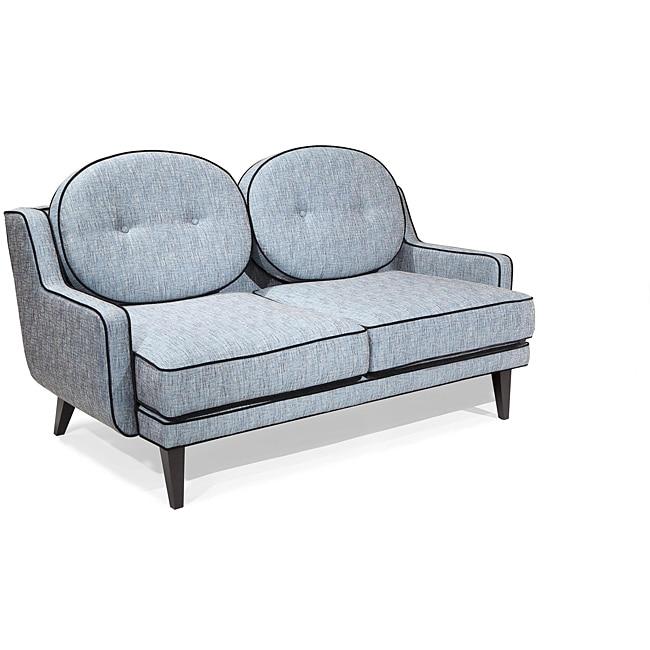 Modern Blue Fabric Loveseat