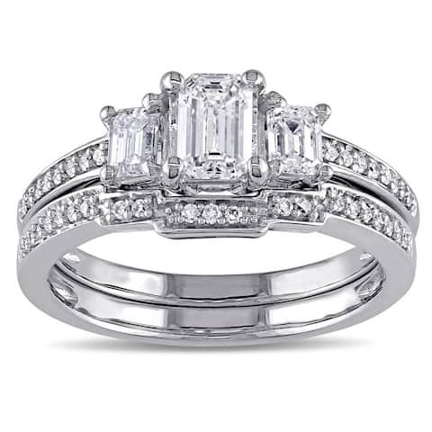 Miadora Signature Collection 14k White Gold 1ct TDW Emerald-cut Certified Diamond 3-stone Bridal Ring Set (G-H, I1-I2)