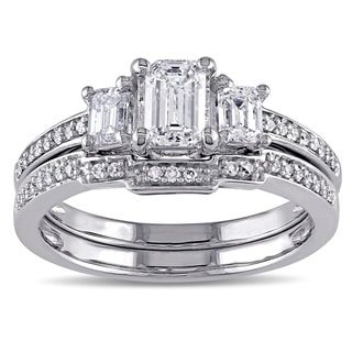 Miadora Signature Collection 14k White Gold 1ct TDW Emerald-cut Certified Diamond 3-stone Bridal Ring Set (G-H, I1-I2)