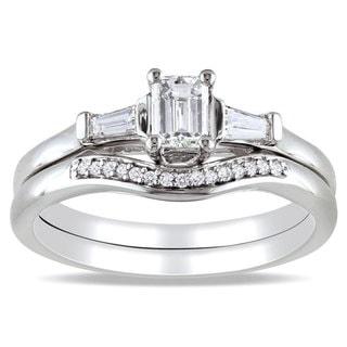 Miadora 14k White Gold 3/4ct TDW Diamond 3-stone Bridal Ring Set