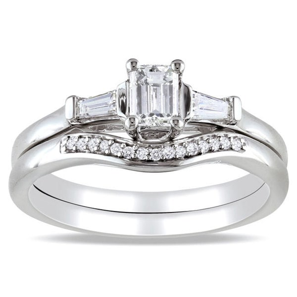 Miadora 14k White Gold 3/4ct TDW Diamond 3-stone Bridal Ring Set