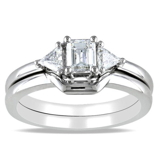 Miadora 14k White Gold 3/4ct TDW Emerald Cut Diamond Bridal Set (H-I, I1-I2)