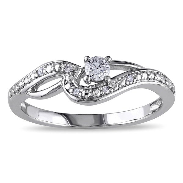 Miadora 10k White Gold 1/6ct TDW Diamond Infinity Promise Ring (G-H, I2-I3)