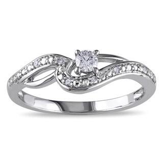 Miadora 10k White Gold 1/6ct TDW Diamond Infinity Promise Ring