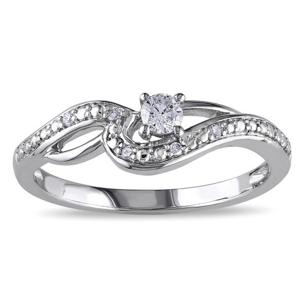 Miadora 10k White Gold 1/6ct TDW Diamond Infinity Promise Ring