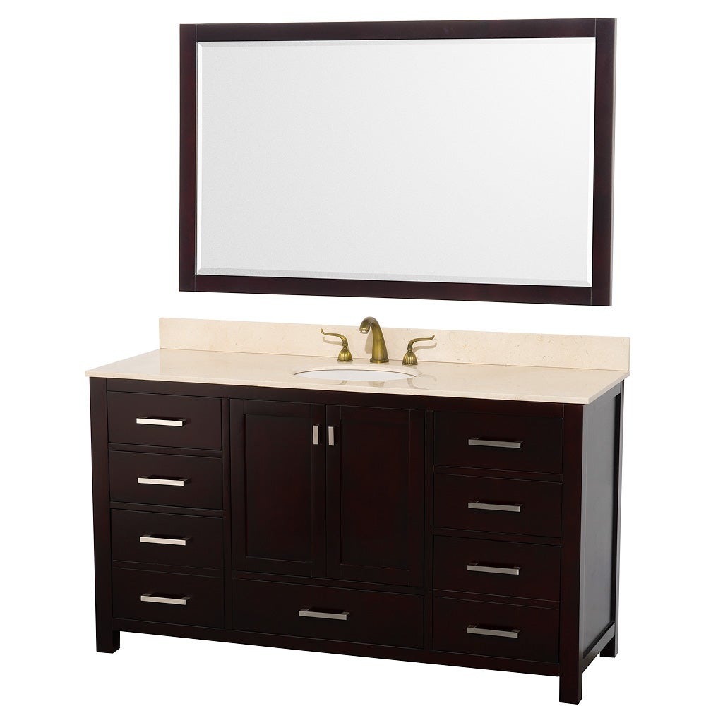 Wyndham Collection Abingdon Espresso 60-inch Solid Oak Single Bathroom Vanity Set
