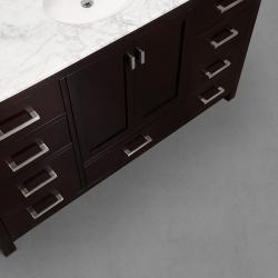 Wyndham Collection Abingdon Espresso 60-inch Solid Oak Single Bathroom Vanity Set - Thumbnail 1