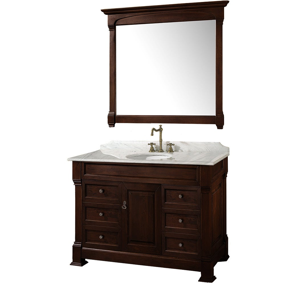 Wyndham Collection Andover Dark Cherry 48 Inch Solid Oak Bathroom Vanity Dark Cherry Free