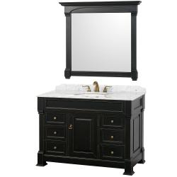 Wyndham Collection Andover Black 48-Inch Solid Oak Bathroom Vanity