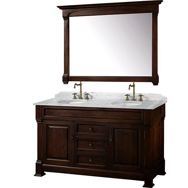 Wyndham Collection Andover Dark Cherry 60-Inch Solid Oak Bathroom Vanity