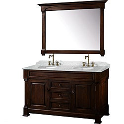 Wyndham Collection Andover Dark Cherry 60 Inch Solid Oak Bathroom Vanity    White