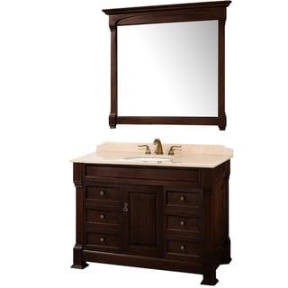 Wyndham Collection Andover Dark Cherry 48-Inch Solid Oak Bathroom Vanity