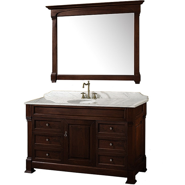 wyndham collection andover dark cherry 55-inch solid oak bathroom