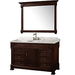 Wyndham Collection Andover Dark Cherry 55 Inch Solid Oak Bathroom Vanity