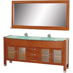 Wyndham Collection Daytona Cherry 71-Inch Solid Oak Double Bathroom Vanity