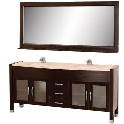 Wyndham Collection Daytona Espresso 71-Inch Solid Oak Double Bathroom Vanity