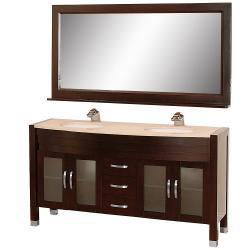 Wyndham Collection Daytona Espresso 63 Inch Solid Oak Double Bathroom Vanity