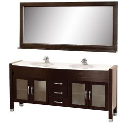 Wyndham Collection Daytona Espresso 71-Inch Solid Oak Double Bathroom Vanity