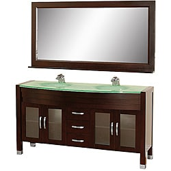 Wyndham Collection Daytona Espresso 63-Inch Solid Oak Double Bathroom Vanity