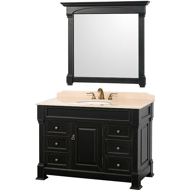 Wyndham Collection Andover Black 48-Inch Solid Oak Bathroom Vanity