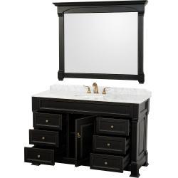 Wyndham Collection Andover Black 55-Inch Solid Oak Bathroom Vanity
