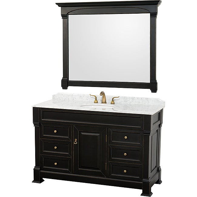 Wyndham Collection Andover Black 55 Inch Solid Oak Bathroom Vanity Free Shipping Today