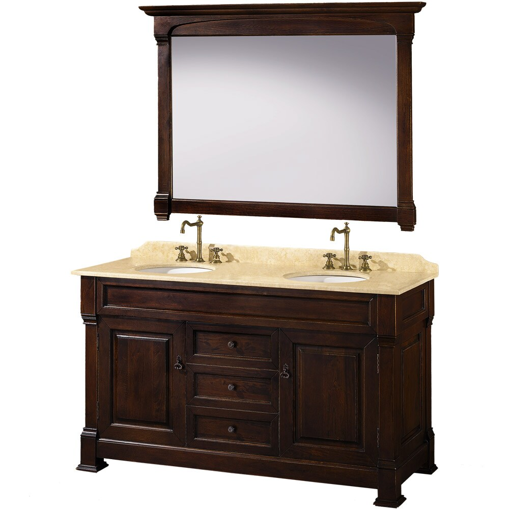 Incredible Wyndham Collection Andover Dark Cherry 60 Inch Solid Oak Bathroom Vanity Home Remodeling Inspirations Genioncuboardxyz