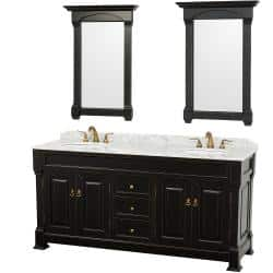 Wyndham Collection Andover Black 72 Inch Solid Oak Double Bathroom Vanity