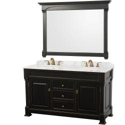 Wyndham Collection Andover Black 60-Inch Solid Oak Bathroom Vanity - White