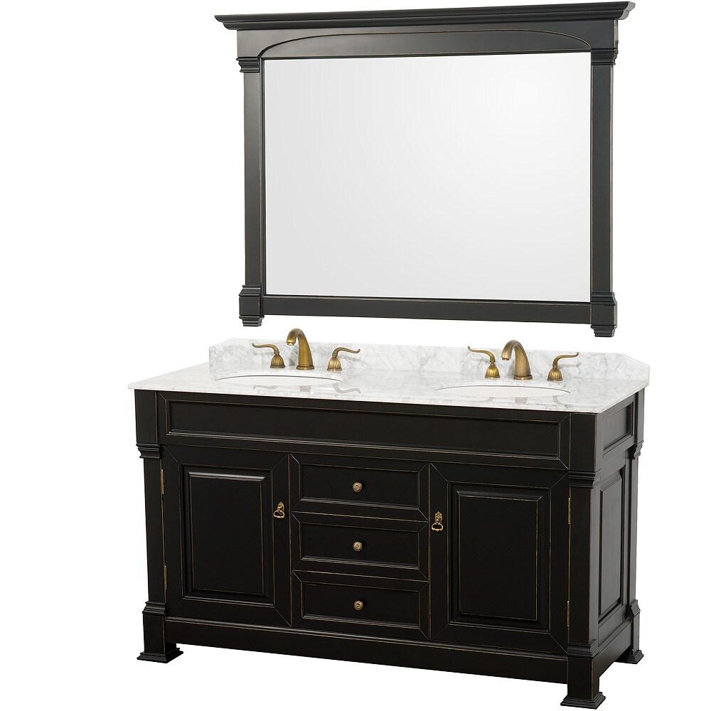 Shop wyndham collection andover black 60 inch solid oak - 60 inch unfinished bathroom vanity ...