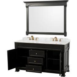 Wyndham Collection Andover Black 60-Inch Solid Oak Bathroom Vanity